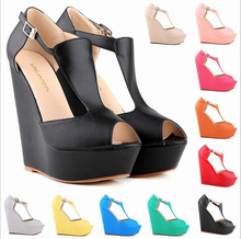 2016 women's high-heeled waterproof Roman fish mouth wedge sandals