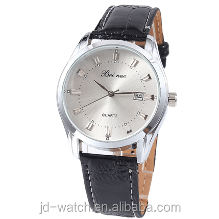 Bei nuo Brand Leather Watches High Quality Men Business With Calendar Watches Big Dial Clock Hours Quartz WristWatch фото