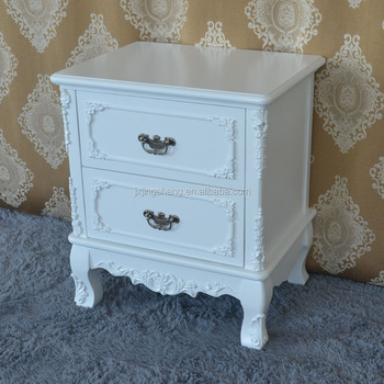 Beau Shabby Chic Style Mahogany Furniture Manufacture Matt White Wood Mdf  Bedside Table Hot Sell