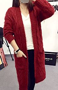 092a5d6e7f539 Get Quotations · Long red wine in Europe and America retro twist mohair cardigan  sweater female cardigan 2016 autumn
