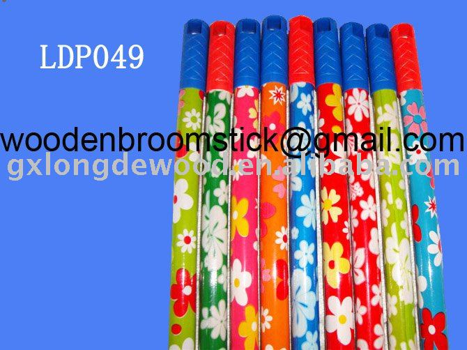 PVC coated wooden mop stick with flower coating