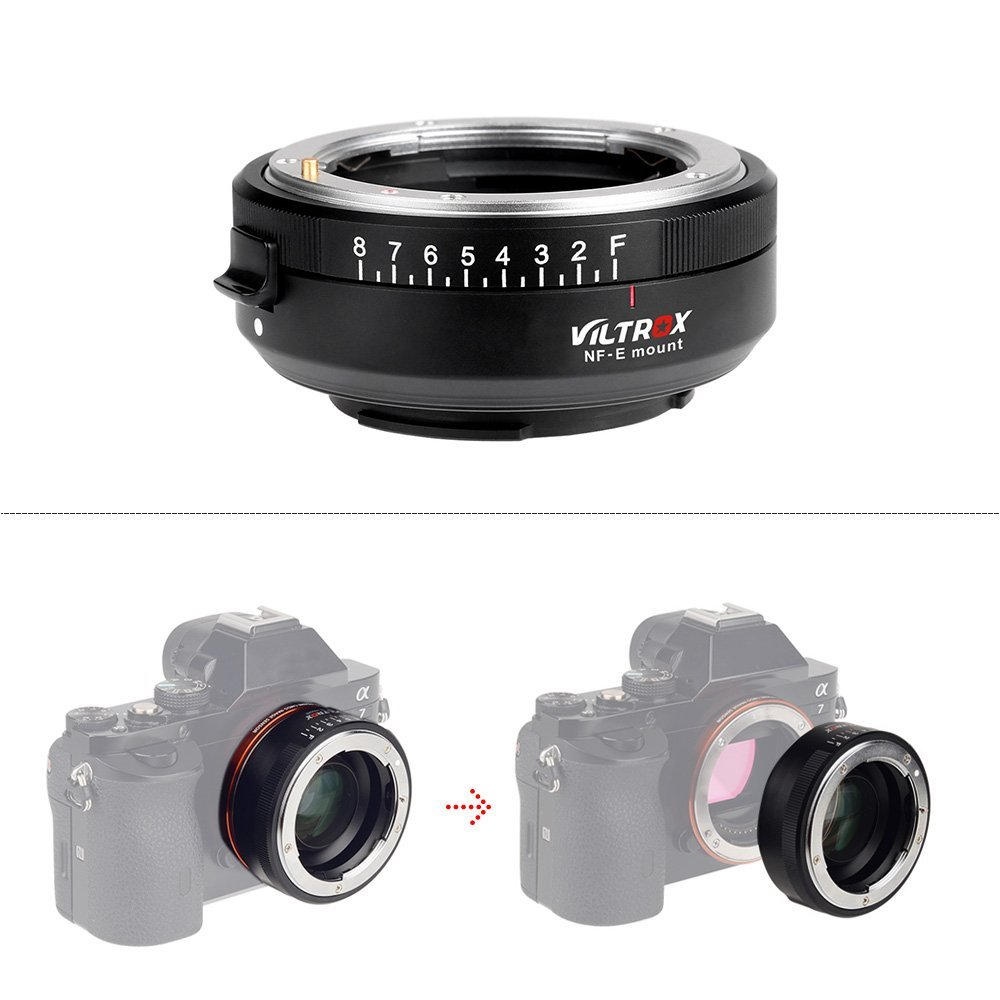 VILTROX NF-E Manual-focus F Lens Mount Adapter Telecompressor Focal Reducer Speed Booster for Sony NEX-F3/N3/3/C3/5/5C/5D/5N/5K/5T/5R/6/7/A7/A7-2/A7R/A7S/A5000/A6000 E-mount Camera