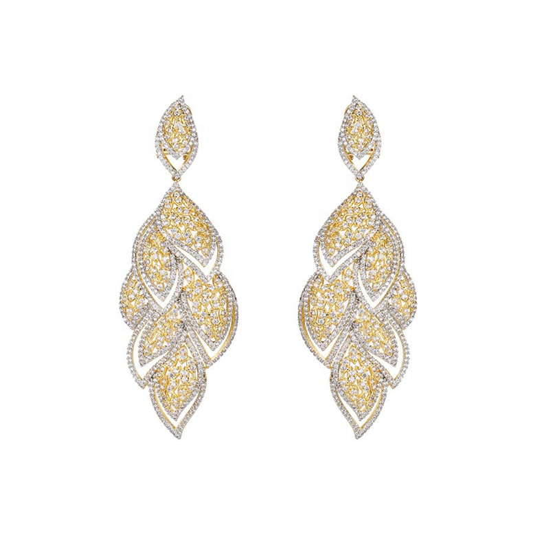 Earring-153 Xuping luxury 지르코니아 긴 earings 지르콘 bridal + multi 색 돌 귀걸이 hoops