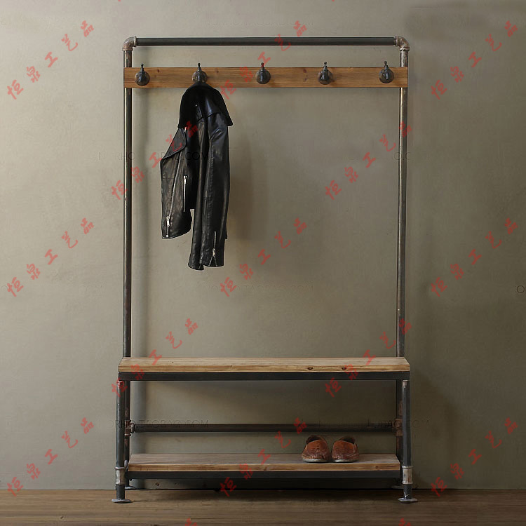 nordic american country industrial pipes iron coat rack. Black Bedroom Furniture Sets. Home Design Ideas