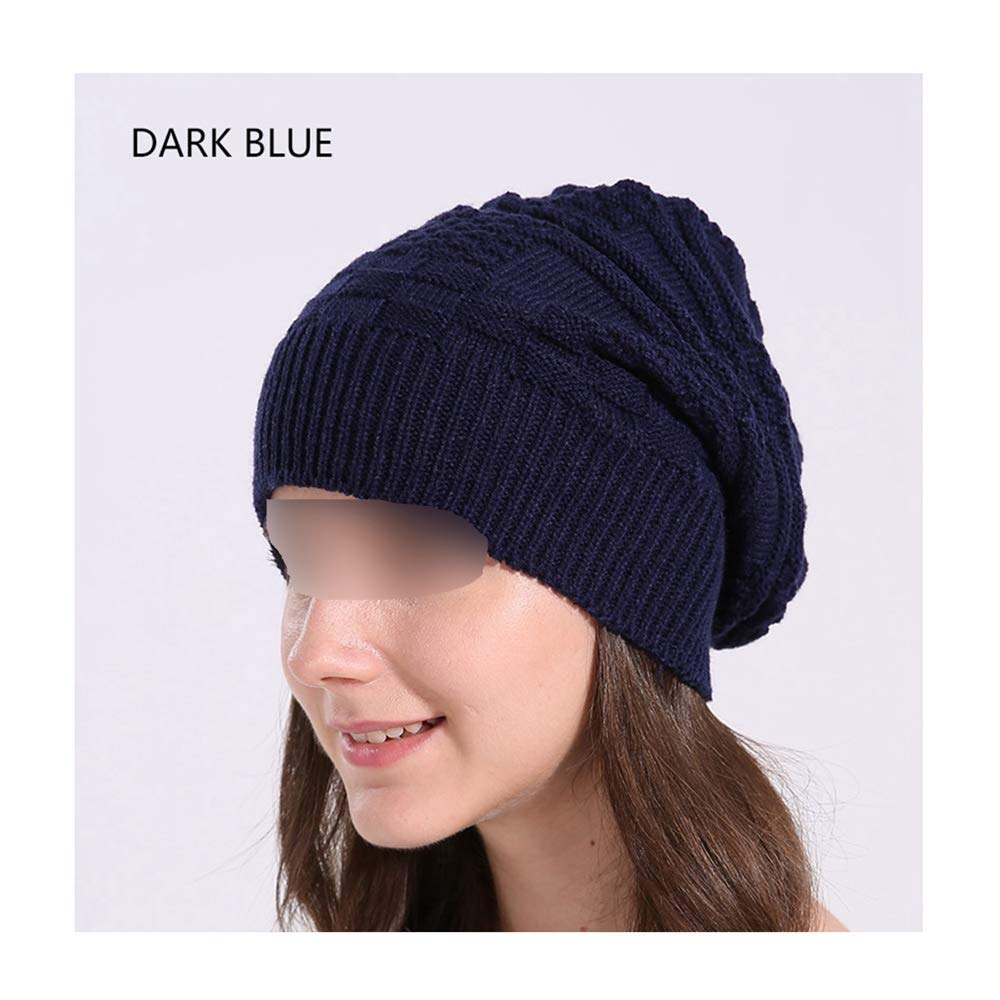 Get Quotations · MJ-Young Warm Winter Hat Knitted Cotton Skull Cap Beanies  Women Casual Baggy Bonnet Ladies 38a0f60c9ec