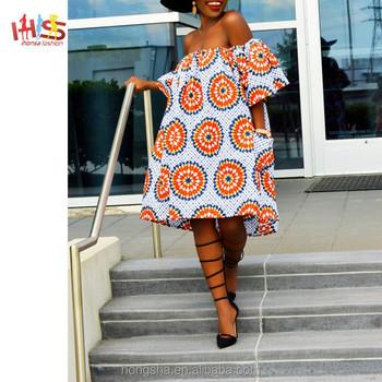 384cb114213 African Fashion Clothing Short Off Shoulder Ankara Style Dresses HSD7102