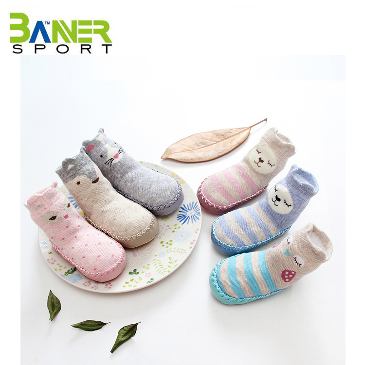 Wholesale Non Skid Anti Slip Slipper Cotton Crew Socks With Grips For Baby Toddler