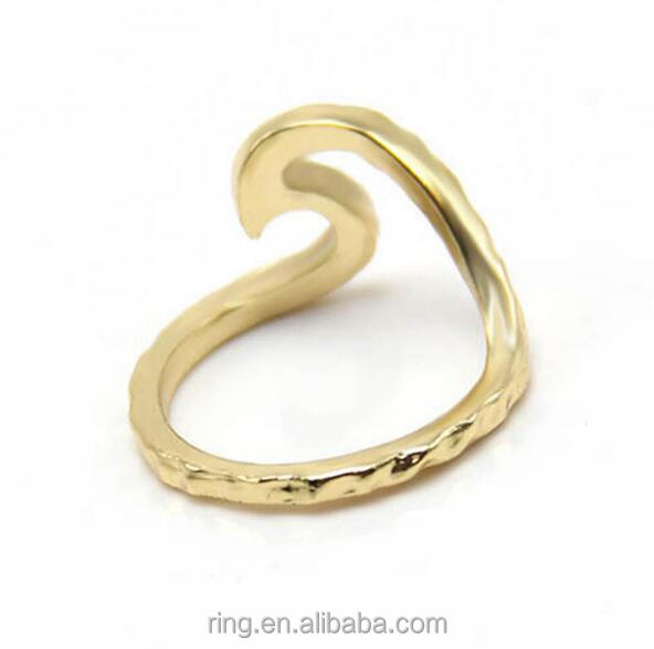 Fashion Personality Silver Gold Plated Single Wave Ring Wedding Lover's Ring
