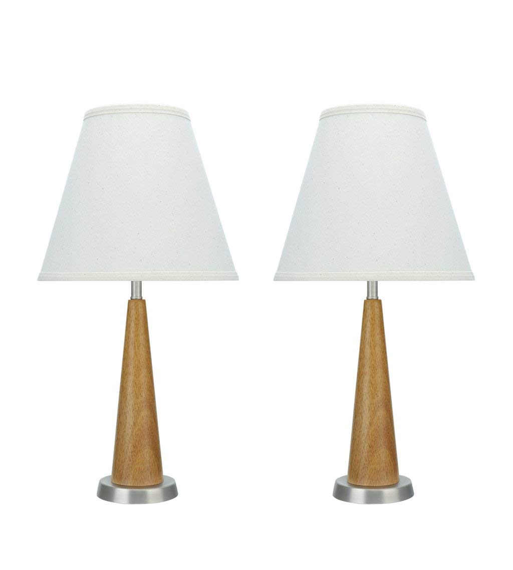 """Aspen Creative 40095, Two Pack Set High Transitional Wooden Brown Pewter Finish Base and Hardback Empire Shaped Shade in Off White, 11"""" Wide, 21 1/2"""" Height Table Lamp, Wood"""