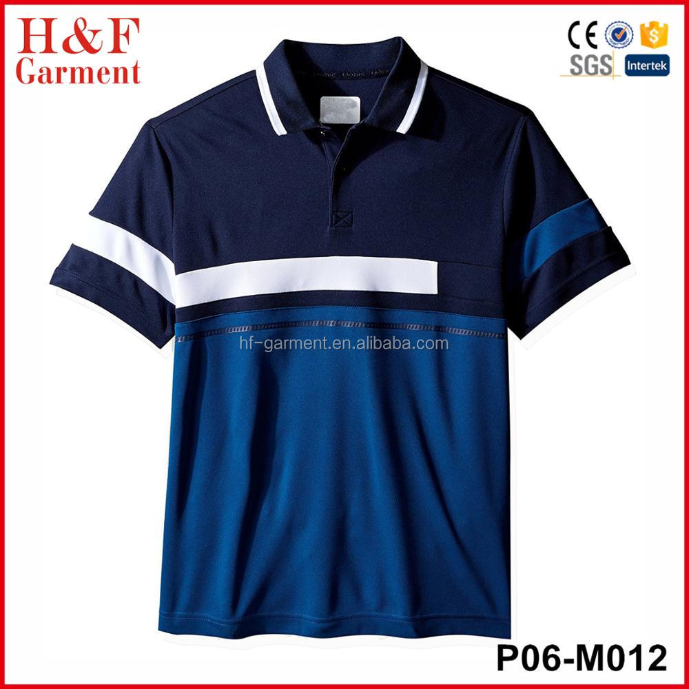 Three Color Combination Short Sleeve Sport Polo Shirt With Pattern