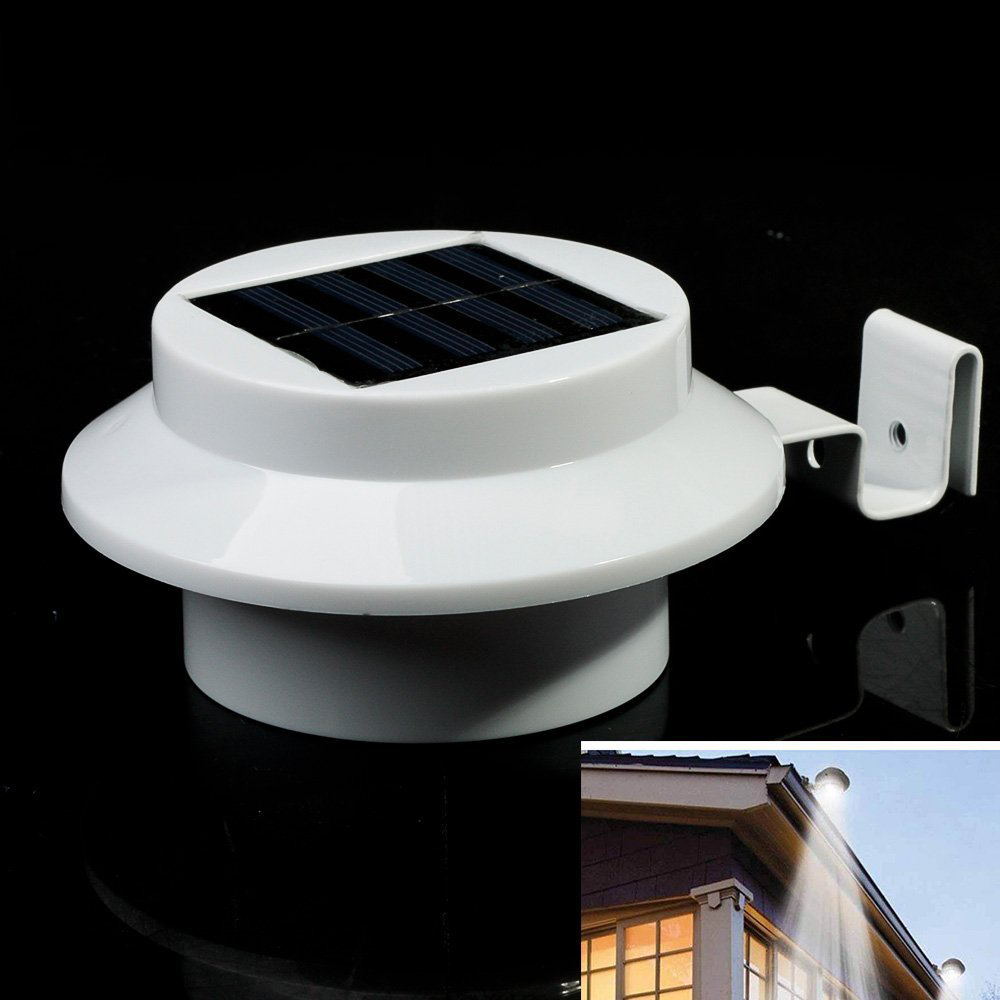 top bright 3 led solar powered fence light outdoor garden solar gutter light