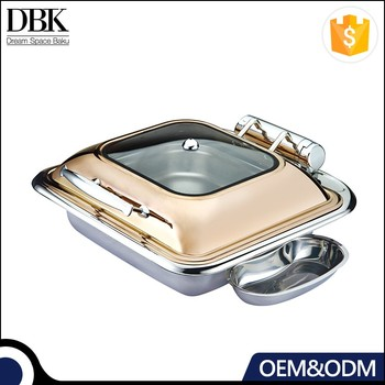 Luxury Factory Price Hydraulic Glass Cover Buffet Chafing Dish with Rose Golden