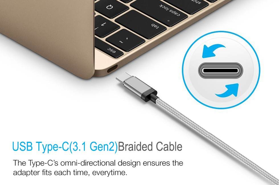USB IF Type C Cable Gen 2 10Gbps 3.3FT Super Speed 100W Power