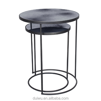 Vintage Style Black Wrought Iron Round Side Table Buy Round Side