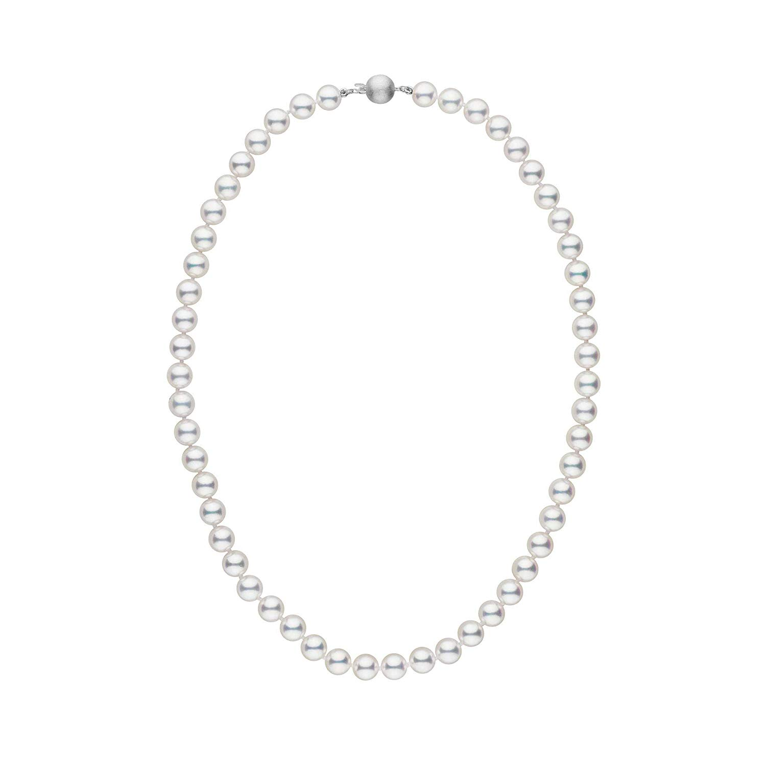 7.0-7.5 mm 16 Inch White Hanadama Akoya Cultured Pearl Necklace