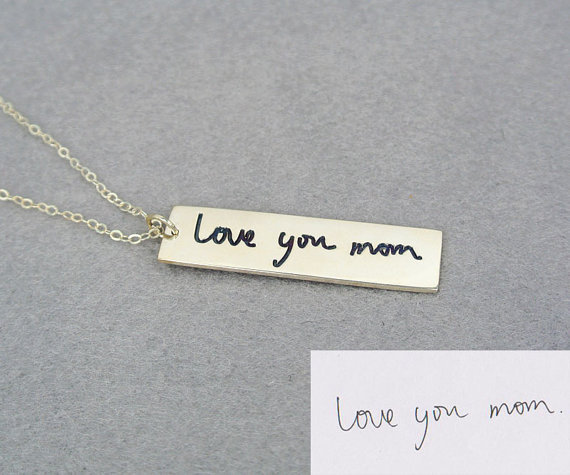 US $24 99 |Wholesale Handwriting Bar Necklace Engraved Sterling Silver Name  Tag Custom Signature Personalized Jewelry Mother's Gift-in Chain Necklaces