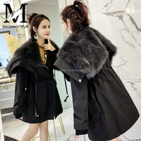 Fashionable Thick Womens With Real Fox Fur Collar Fur Parka Italy Style Jacket