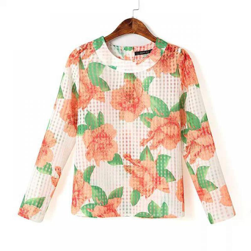 New Arrival Casual O-neck Broadcloth Long-sleeve Appliques Flowers Printed Women T-shirts Tops Summer