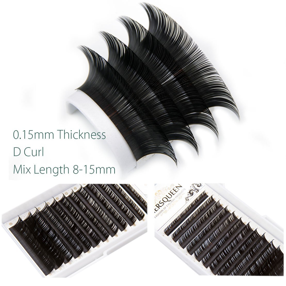 87b9f127bdb Get Quotations · Individual Eyelash Mix Length Salon Tray .15 C Curl D Curl  Professional Silk Lash Russian