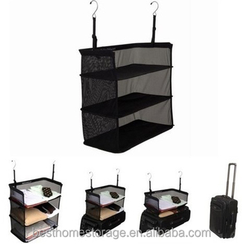 Fashion 3 Compartments Storage Shelves Casual Polyester Foldable Travel Bag Accessories Hanging Clothes Organizer For Travel  sc 1 st  Alibaba & Fashion 3 Compartments Storage Shelves Casual Polyester Foldable ...