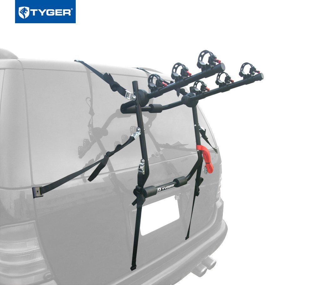 Fits Both 1.25 and 2 Hitch Receiver Tyger Auto TG-RK3B101S 3-Bike Hitch Mount Bicycle Carrier Rack Free Hitch Lock /& Cable Lock