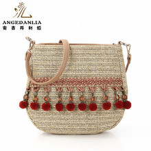 Hot sales Summer Beach Leisure female tote bag rattan woven bamboo handbag manufacturer
