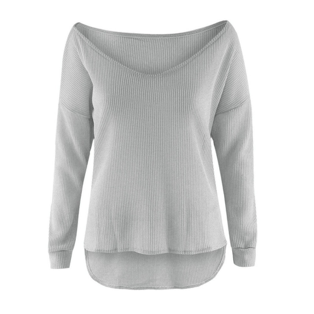 B30923A Europea irregular women's sexy inclined shoulder leisure loose knitted sweater