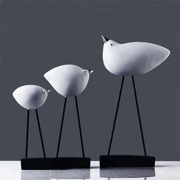 Gaya Nordic Modern Home Decor Kerajinan Resin Figurine Burung 3 Pieces Set