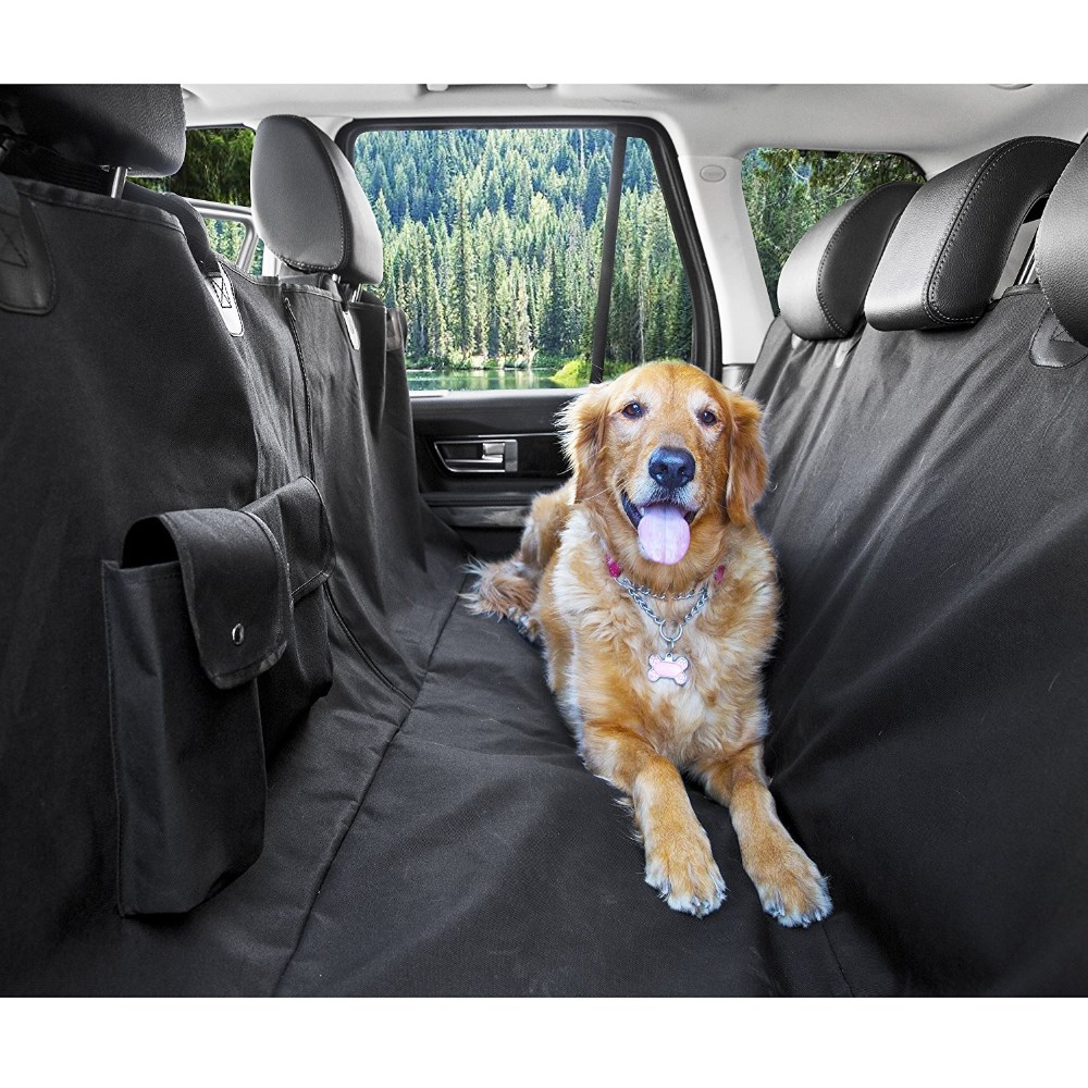 Anti slip waterproof rhombus quilted rear pet car seat cover for dogs and cats with safty belt