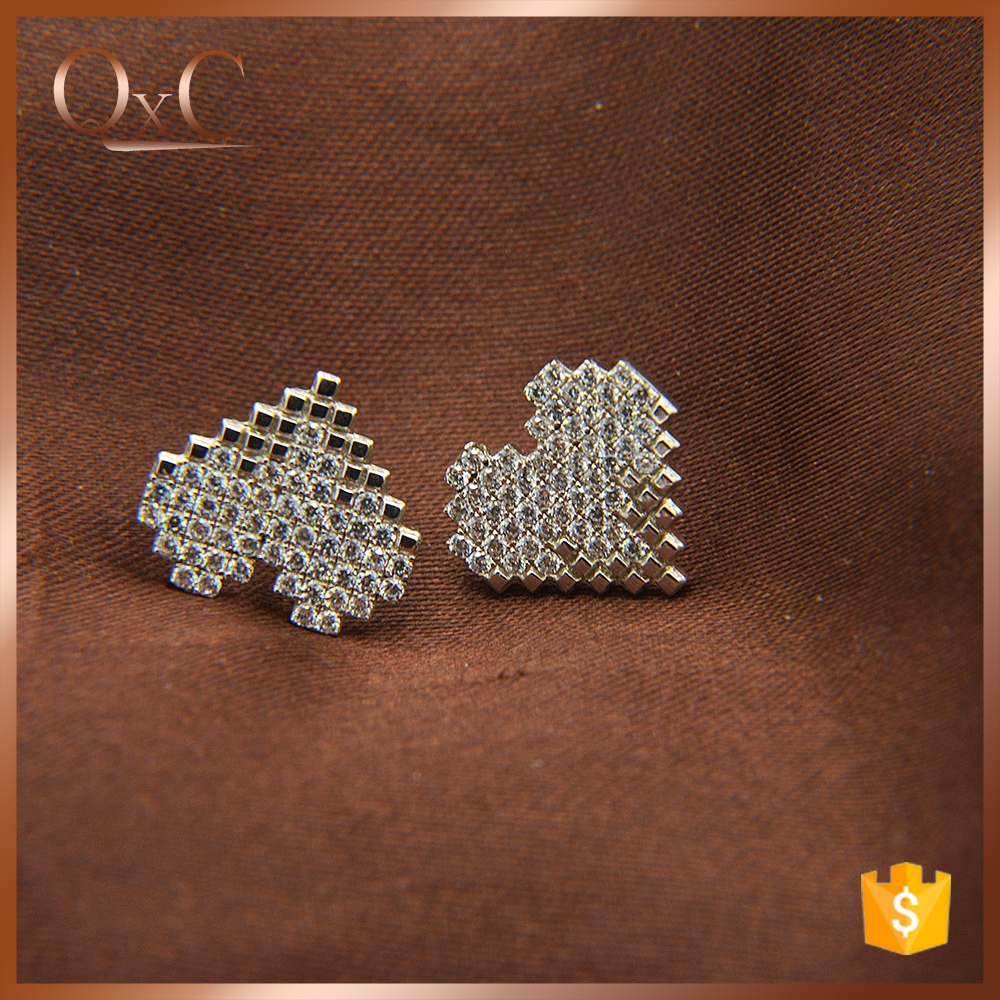 Fashion jewelry factory pave diamond earrings superstar accessories