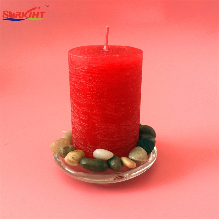 Decorative Aroma Scented Rustic Pillar Candle Set with Glass Holder