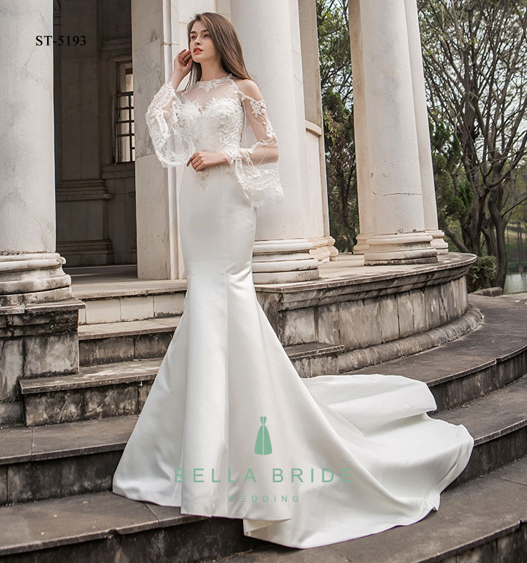 Wedding Dresses With Bell Sleeves: Bell Sleeve Satin Wedding Dresses Gowns Pakistani Bridal