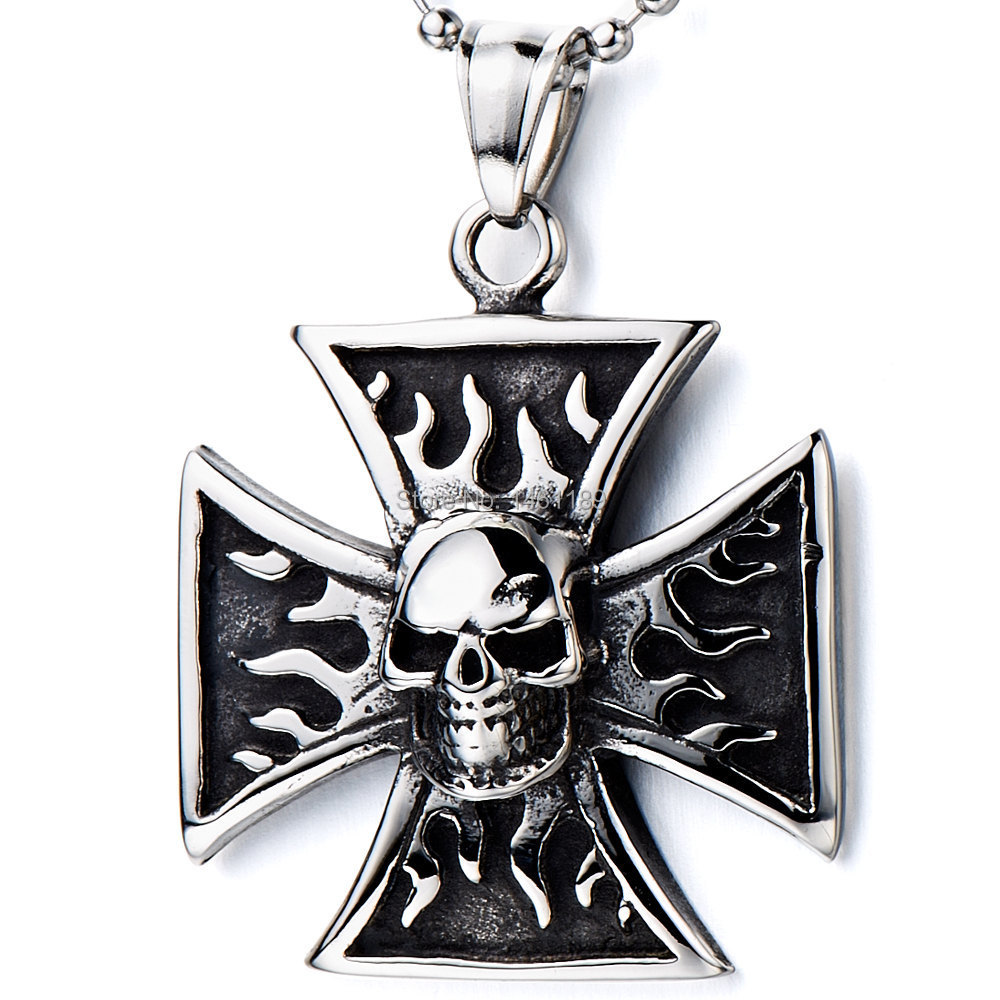 Men's Stainless Steel Pendant Necklace Silver Black Skull Fire Cross Vintage -with 21 inch Chain  2014