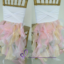 C344B christmas spandex bands wedding decoration organza ruffle curly willow chair sash
