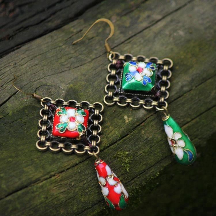 Nipal handmade vintage Original design cloisonne beads dangle earrings ,New Ethnic jewelry archaic Chinese rhyme earrings фото