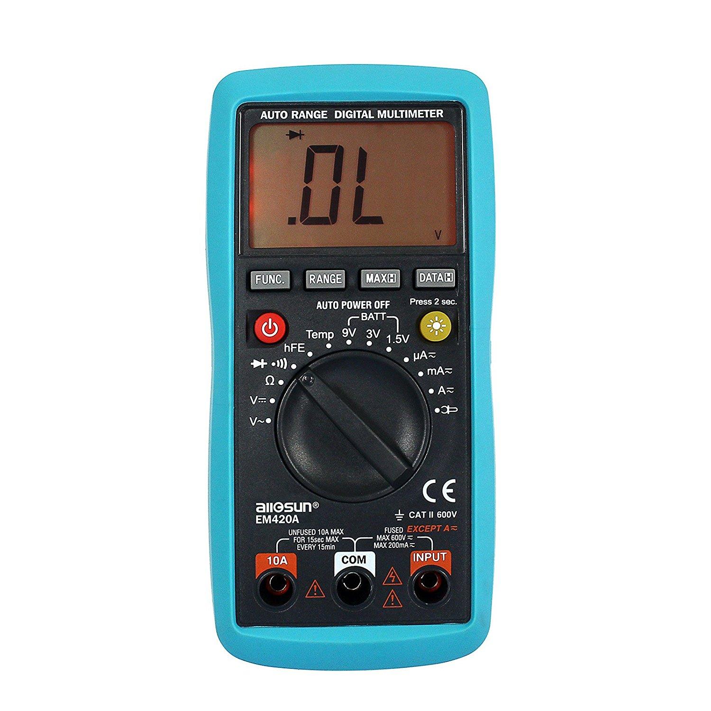 all-sun Digital Multimeter Continuity Diode Transistor AC DC Volt Battery Tester DMM