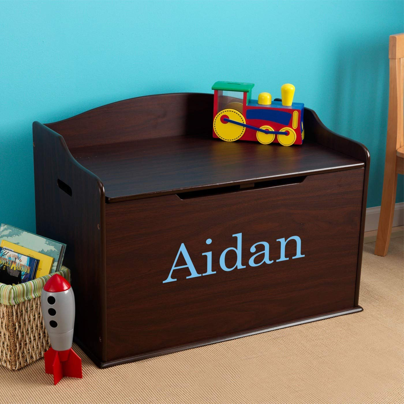 DIBSIES Personalization Station Replacement Front Panel for Espresso Modern Touch Toy Box (Aidan in Baby Blue Library Font)