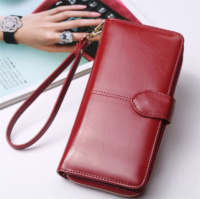 Wholesale Fashion Wax Leather Wallet Women Long Design Clutch ...