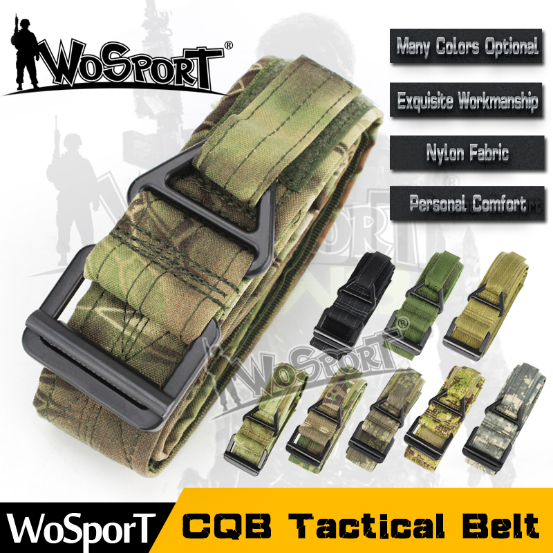 WoSporT CS outdoor game nylon pure colors military tactical belt webbing with alloy buckles