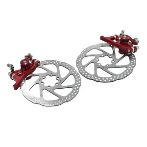 Mechanical disc brake set for front rear MTB wheel