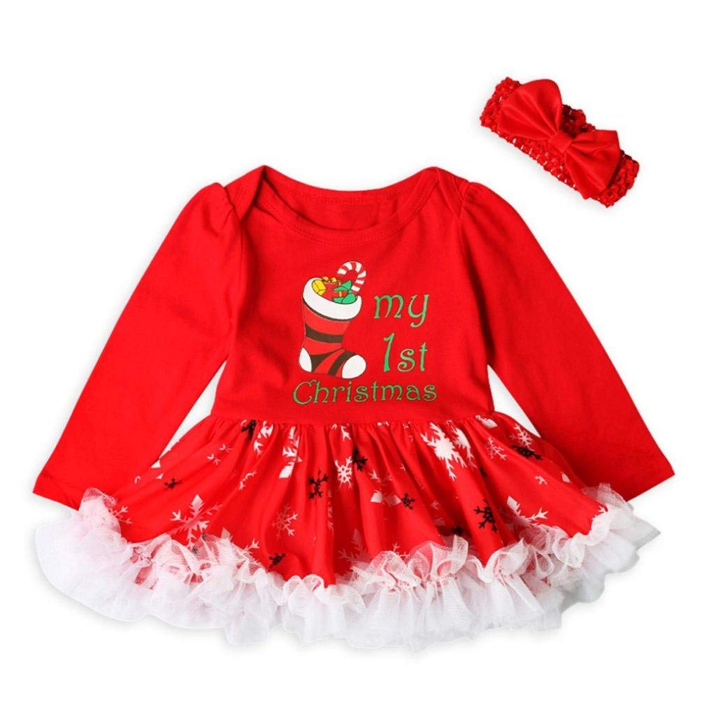 Newborn Baby Girl Tutu Dress Outfit Set Letter Print Ruffle Dress Bow Headband