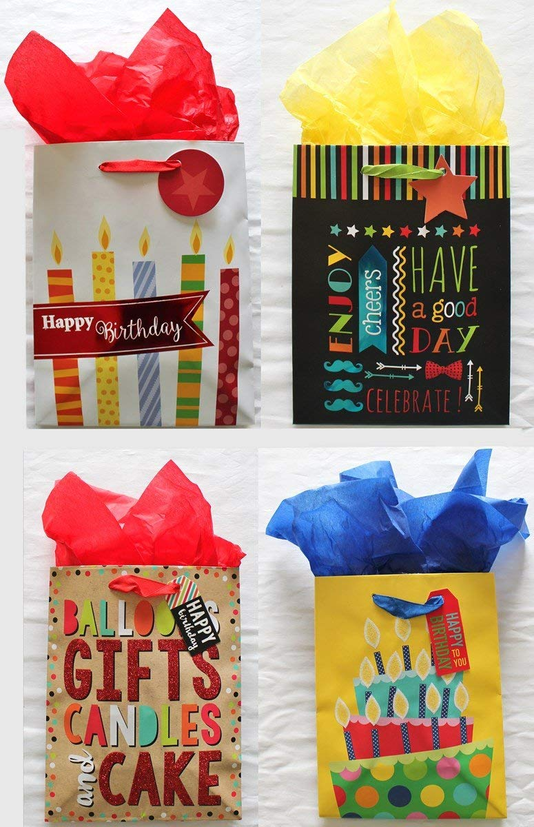"Happy Birthday Party Gift Bags 7"" x 9"" x 4"", Assorted Designs, with attached Gift Tags and Tissue Paper - Pack of 4"