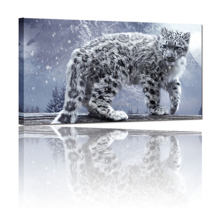 Animal Art Wall Decoration/Leopard Canvas Wall Art Prints/Snow Leopard Picture Printed On Canvas Framed Ready to Hang
