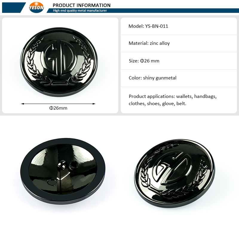 Custom Made Shank Sewing Metal Buttons, Gunmetal Color Alloy Sewing Button For Jacket Clothing