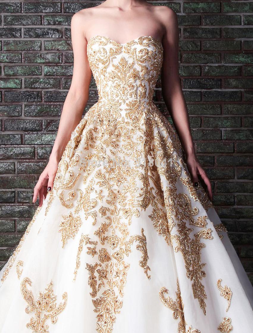 2014 Rami Kadi gold embroidery wedding gown XT 1085 white ...