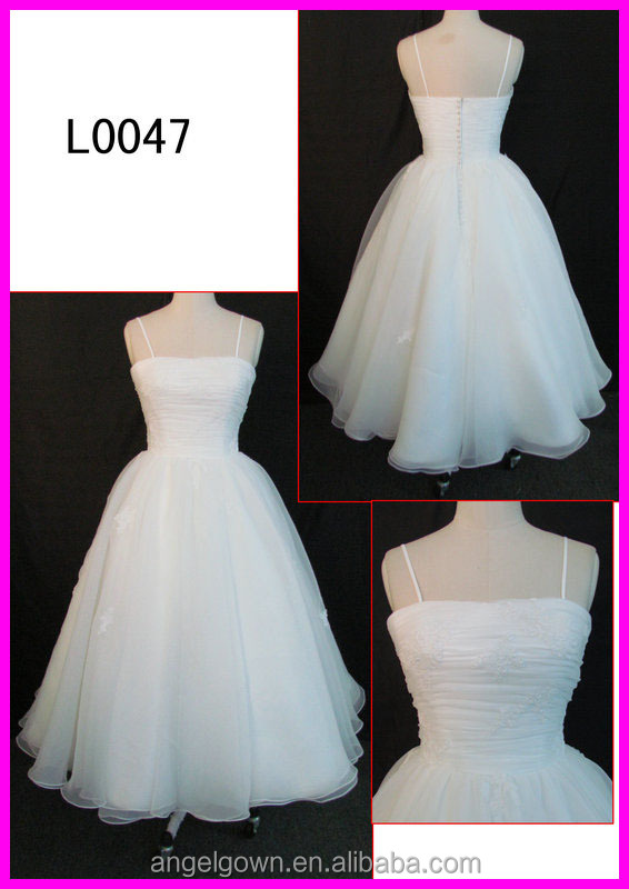 2014 guangzhou cheap price strap ankle length ball wedding dresses with button back for brides L0047