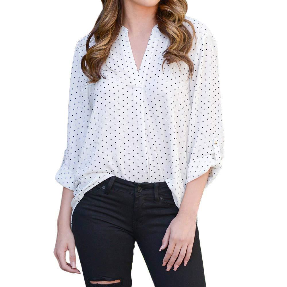 Clearance!Dressin_Women's V-Neck Casual Polka Dot Print Full Sleeve Top Blouse