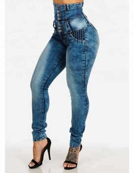33d760de7 Royal wolf jeans manufacturer blue acid wash pleated stitching levanta cola colombian  butt lift skinny jeans