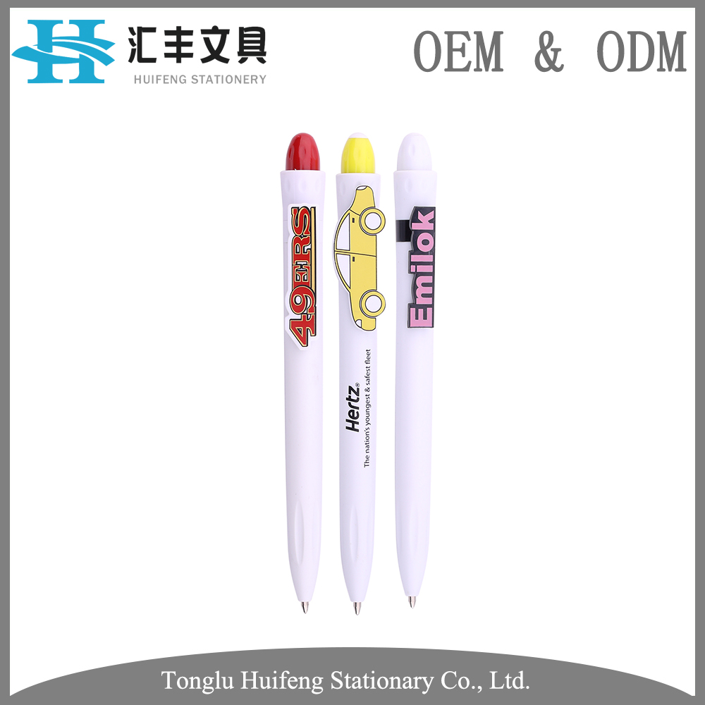 HF5215 OEM service best quality promotional plastic cartoon ball pen with custom logo