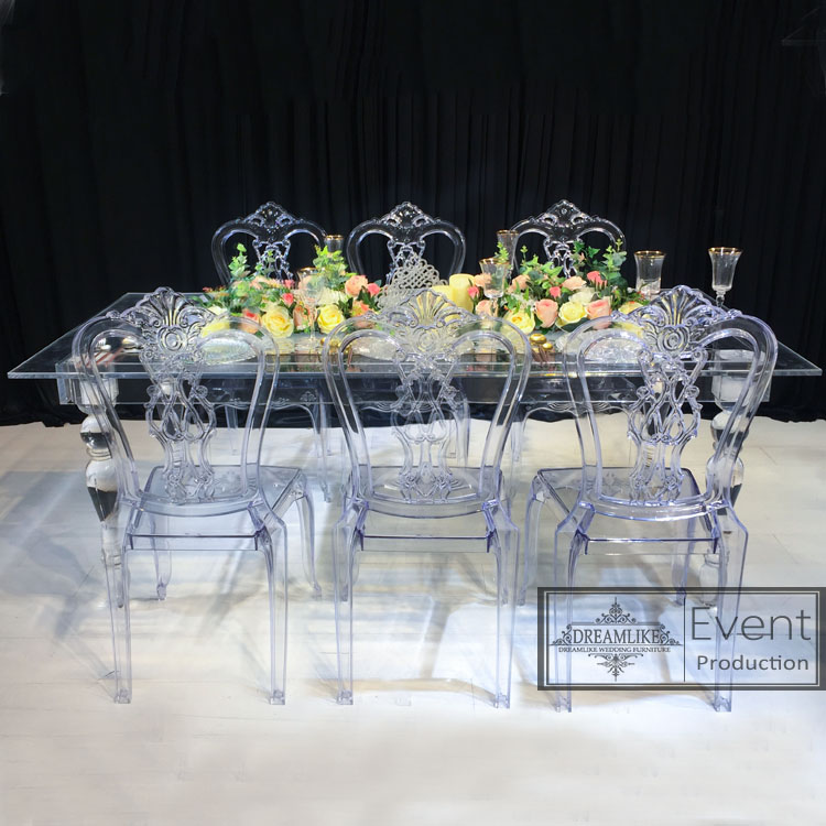 Wedding dining table for events design rectangle clear acrylic restaurant table